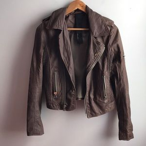 Joe's Jeans taupe brown leather moto biker jacket